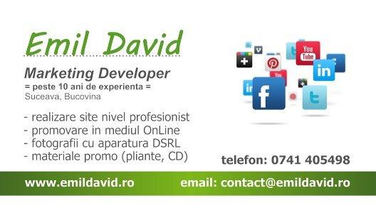 Carte de vizita Emil David, Suceava, Bucovina - servicii promovare