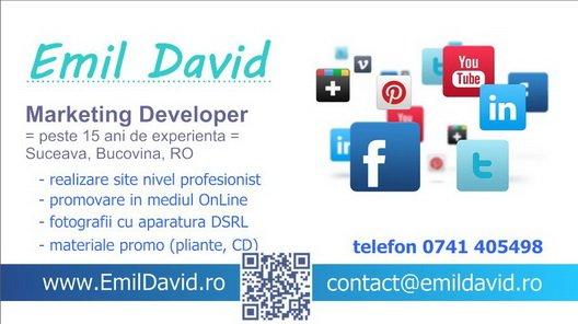 Carte de vizita Emil David, Suceava, Bucovina - servicii promovare marketing social media realizare siteuri magazine OnLine